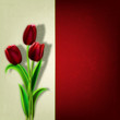 abstract grunge floral background with red tulips