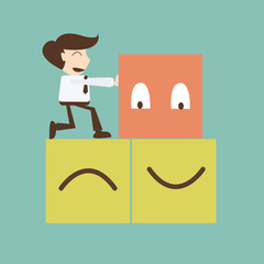 Change management concept - businessman push  box happy