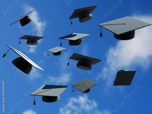 graduation caps thrown in the air - 64432420