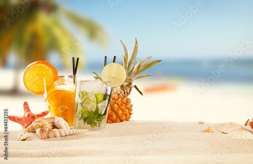 Leinwandbild Motiv Summer beach with drinks and accessories