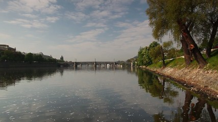 View on Vltava river with Manes bridge in Prague