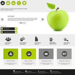 Flat Business Website Template Vector Eps 10 with green apple