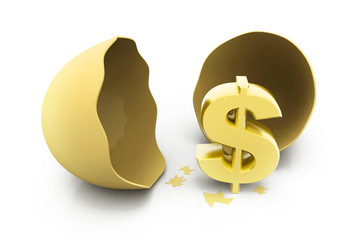 Dollar sign with egg. Broken egg