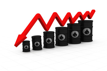 Oil barrels with arrow down. Oil price fall .
