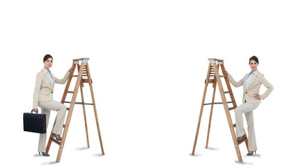Multiple image of businesswoman climbing ladder