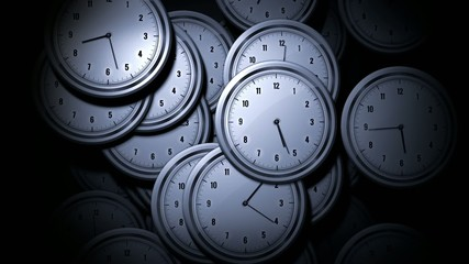Many Clocks animated randomly