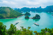 Scenic view of islands in Halong Bay