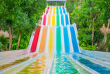 Colorful waterslides in water park