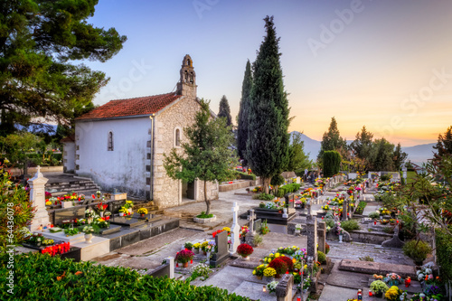 Authentic Dalmatian cemetery in Croatia with church - 64436078