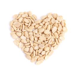 Processed pea nuts heart shape.