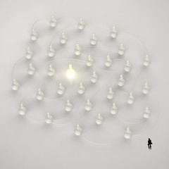 businessman walking 3d light growing human social network and le