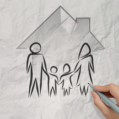 hand drawing 3d house wtih family icon on crumpled paper backgro