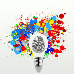Creativity 3d metal human brain in visible light bulb with splas