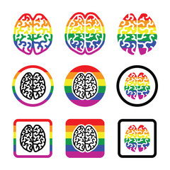 Gay Human brain icons set - rainbow symbol