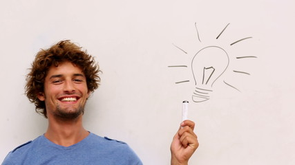 Happy student getting an idea