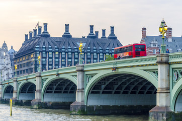 Red doubledecker bus on Westminster Bridge