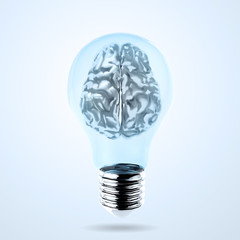 3d metal human brain in a lightbulb as creative concept