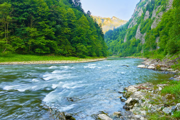 The Dunajec River Gorge natural reserve. The Pieniny Mountains.