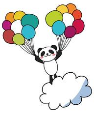 風船でふわふわパンダ ベクターイラスト