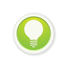 the green glossy circle button with bulb pictogram