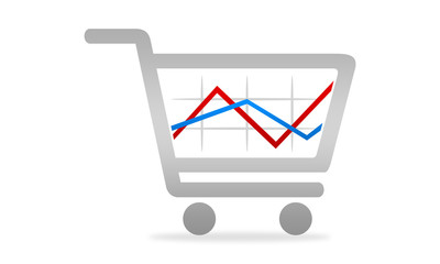 shopping cart with line graph