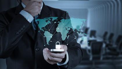 businessman hand show 3d mobile with padlock as Internet securit