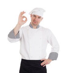 Male chef showing OK sign