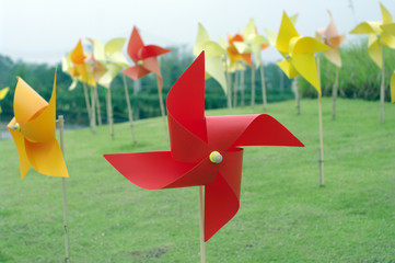colourful windmill field