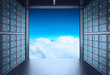 3d network server room and cloud outside as concept - 64439623