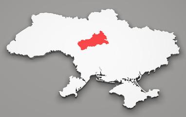 Mappa Ucraina, divisione regioni, cherkasy