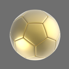 3d gold soccer ball isolated on background