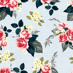 Seamless vector floral pattern with roses on light background