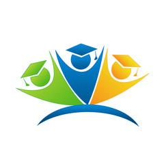 Teamwork graduates logo vector