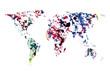 Colorful world map of watercolor blots.  Vector background.