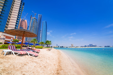 Beach in Abu Dhabi, the capital of United Arab Emirates