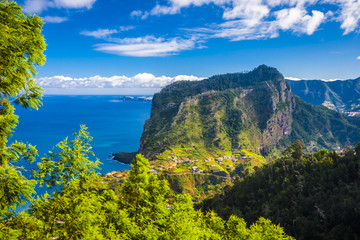 coast on madeira island in sunny day at the winter, portugal