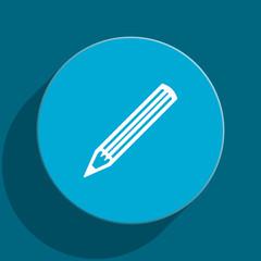 pencil blue flat web icon
