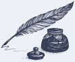 Vector freehand drawing of ancient pen and inkwell - 64441678