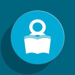 book blue flat web icon