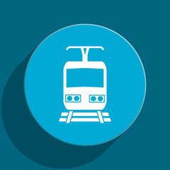 train blue flat web icon