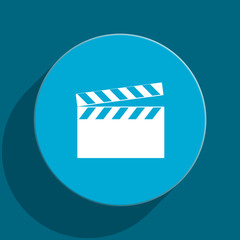 video blue flat web icon