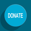 donate blue flat web icon