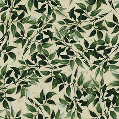 Seamless vrctor floral pattern with green ficus leaves