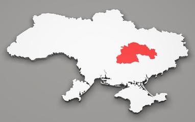 Mappa Ucraina, divisione regioni, dnipropetrovsk