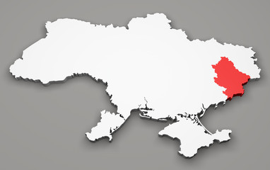 Mappa Ucraina, divisione regioni, donetsk