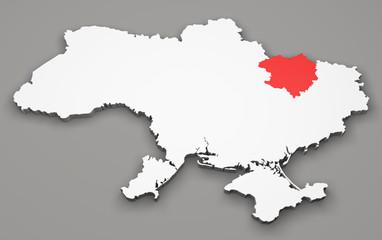 Mappa Ucraina, divisione regioni, kharkiv
