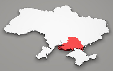 Mappa Ucraina, divisione regioni, kherson