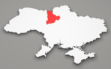 Mappa Ucraina, divisione regioni, Kiev
