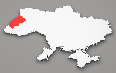 Mappa Ucraina, divisione regioni, lviv