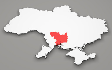 Mappa Ucraina, divisione regioni, mykolaiv